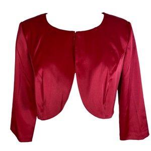 Red Bolero Jacket Satin Top Long Sleeves NWT